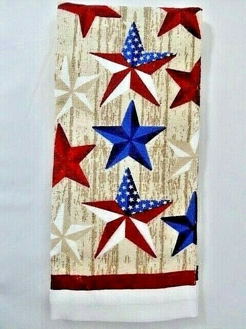 Patriotic Barn Stars Kitchen Towel Red White Blue Tan Cotton Holiday