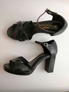 WOMENS-NEXT-BLACK-FAUX-LEATHER-ANKLE-STRAP-HIGH-HEELS-SHOES-UK-5-5-EU-38-5