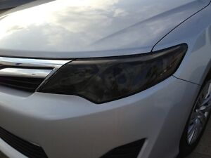 2012 2014 toyota camry smoke head light precut tint cover smoked overlays. Black Bedroom Furniture Sets. Home Design Ideas