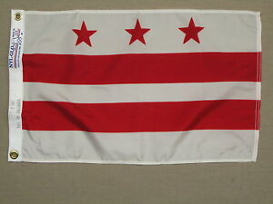"""District of Columbia DC Indoor Outdoor Dyed Nylon Boat Flag Grommets 12/"""" X 18/"""""""