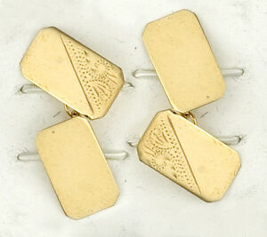 Fine Jewelry Rectangular Cufflinks Solid Yellow Gold Hallmarked Handmade Cufflinks
