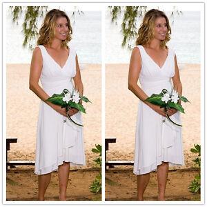 V Neck Chiffon Short Beach Wedding Dresses Simple White Bridal Gown