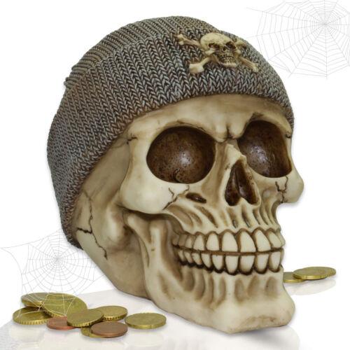 Totenkopf Spardose Deko Skull mit Fischermütze - grau