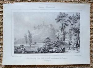 Lithografie-Originell-19-Jhd-Schloss-Curson-Bergerac-j-Philippe