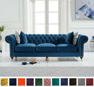 New Chesterfield Sofa Royal Blue Linen