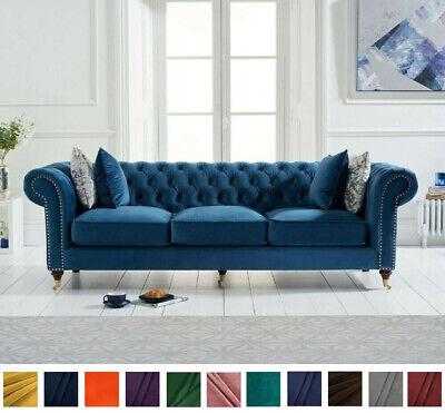 New Chesterfield Sofa Royal Blue Linen Plush Velvet 3 Seater Settee Couch Ebay