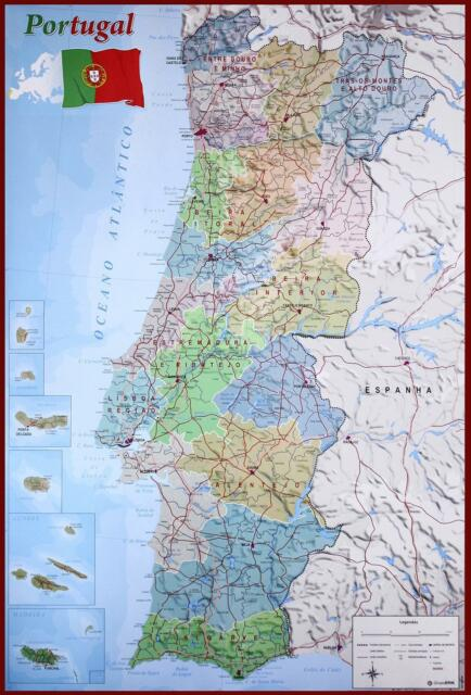 Mapa De Portugal Poster Map Of Portugal 61 X 91 5 Cm For Sale Online
