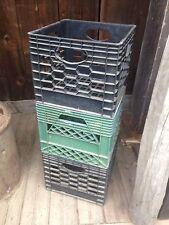 Vintage 1  Dairy Plastic Stacking milk crate box black or green