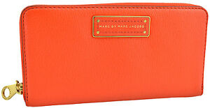 295-MARC-JACOBS-orange-cuir-veau-Continental-Portefeuille-New-Collection