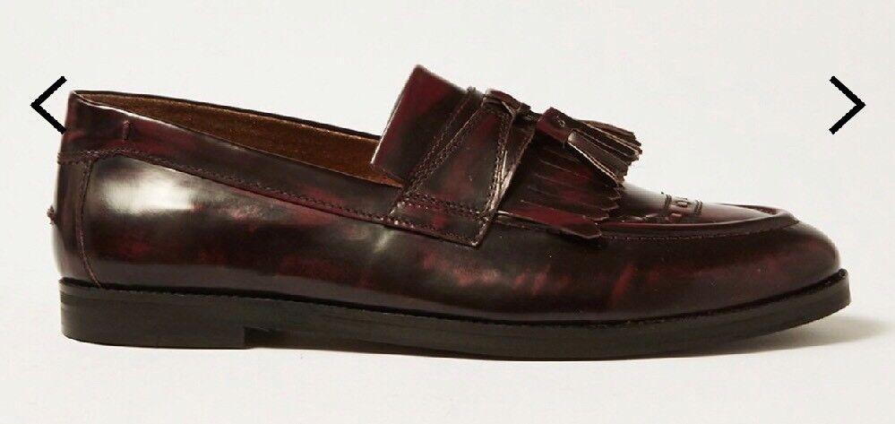 House Of Hounds Burgundy Leather Archer Tassel Ex Display Fringe Loafers Eu 45
