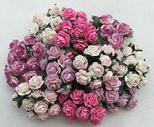 100 pcs mini Rose mixed Pink Mulberry Paper Flower 10 mm scrapbooking wedding