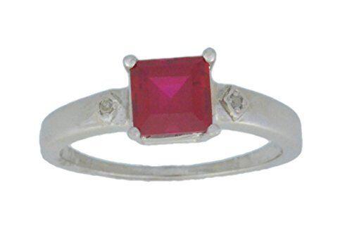 1 Ct Créé Ruby /& Diamant Taille Princesse Bague Argent Sterling .925
