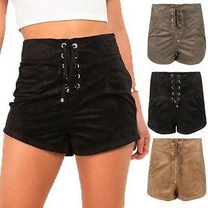 Scarpe Donna Dettaglio in Pizzo Occhielli Casual Vita Alta Hot Pants Pantaloncini in pelle scamosciata
