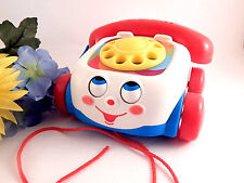 Fisher Price Chatter Phone Pull Toy Classic Retro Bell Dial Wobble Eye
