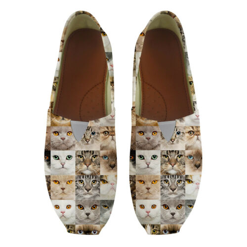 Animal Cat Walking Shoes Ladies Canvas Flats Loafer Summer Travel Beach Shoes