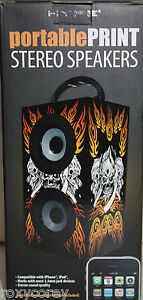 Hype-Portable-Print-Stereo-Speakers-Black-Skulls-Compatible-with-iPhone-iPod-NIB