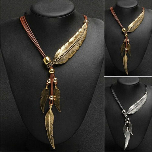 Ladies Vintage Bronze Rope Chain Feather Pendant Choker Statement Necklace RS