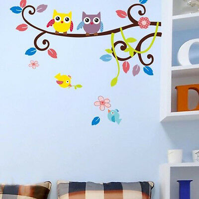 CHIC HOME DECOR OWL TREE CARTOON WALL STICKERS REMOVABLE VINYL DECAL MURAL ART