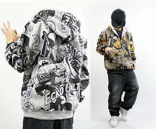 Homme Sweatshirt Veste à Capuche Sweat Zippée Hoody Coton Hip-Hop Graffiti  Neuf