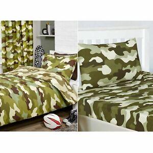 Camouflage-Armee-Vert-Set-Housse-de-Couette-Simple-Drap-Housse-Taie-D-039-Oreiller