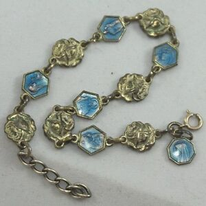 catholic saints bracelet vtg sterling silver guilloche enamel catholic saints 2068