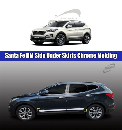 SAFE Side Under Skirts Chrome Molding 4Pcs For Hyundai Santa Fe DM 2013 2016