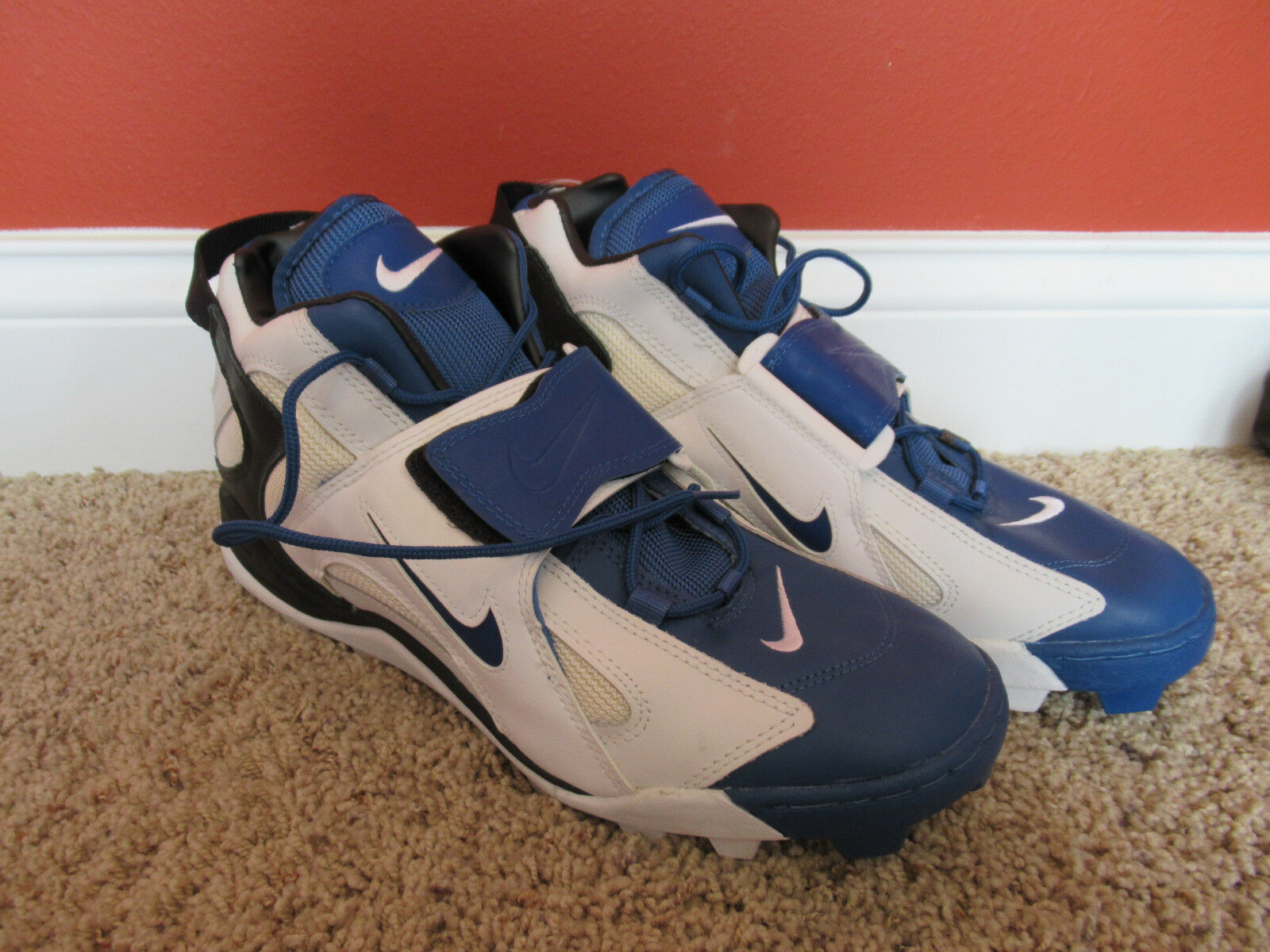 Wild casual shoes Vintage Nike Air Blue White football cleats mens size 14 UNUSED EXCELLENT!!