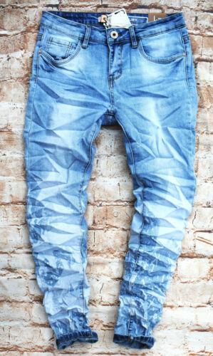 LEXXURY Stretch Damen Jeans Hose blau Boyfriend Stern Baggy Röhre XS bis XL 7049