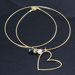 Damen-Collier-750er-18k-Gelbgold-Halskette-mit-Turmalin-und-Herzanhaenger-42cm