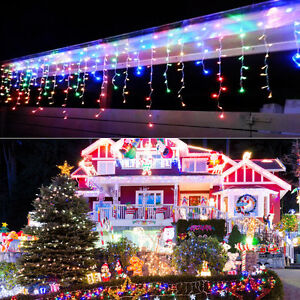 Multi-color-Connectable-96-LED-Curtain-Icicle-String-Fairy-Light-Xmas-Party-Lamp