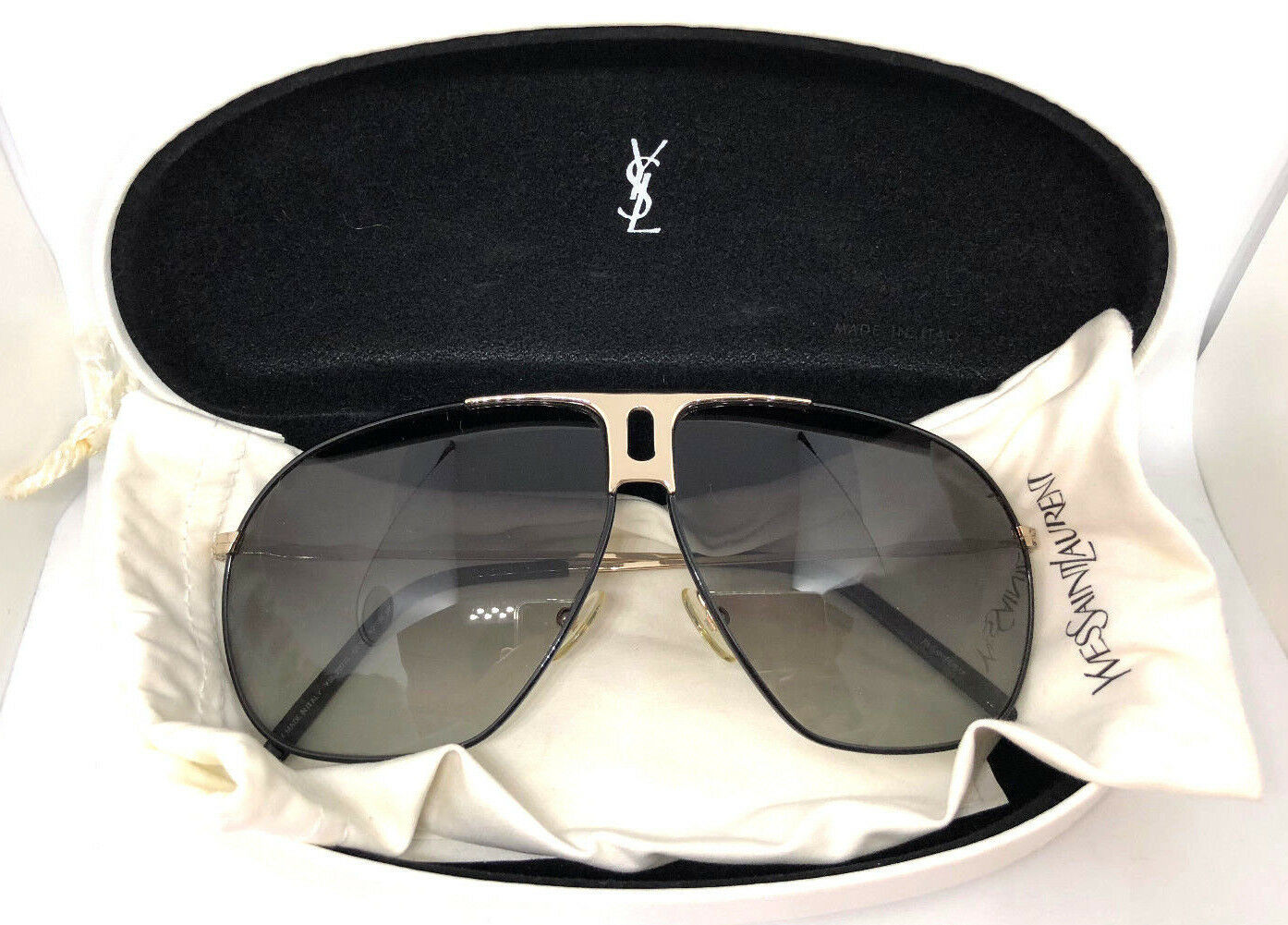 Cloth Black 2117s Bag Sunglasses Yves Ysl Case In Laurent Silver Saint Aviator CoedxrB