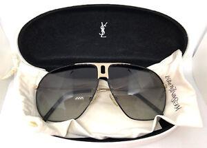 d75d9a90d3883 Yves Saint Laurent YSL 2117 S Black Silver Aviator Sunglasses In ...
