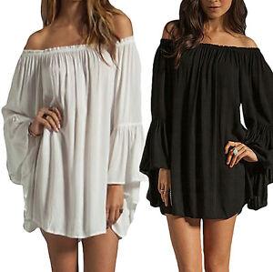 Plus-Size-Boho-Women-Ruffle-Sleeve-Off-Shoulder-Tops-Tee-Shirt-Blouse-Dress
