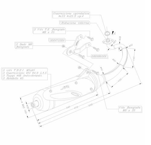 /Échappement Sito Standard 0716 pour MBK Nitro 50 SA14 Motowell Magnet 2 Takt Yamaha Aerox 50 SA42-2 Takt Yamaha Aerox 50 SA14-2 Takt MBK Nitro 50 SA42