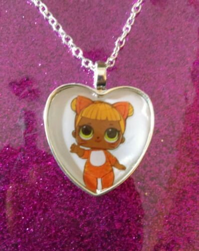 Silver Plated Heart Pendant Necklace LOL Doll Surprise Baby Cat
