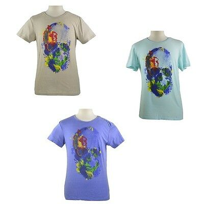 Mens SKULL print Sublevel T-Shirt top S//M//L//XL//XXL green//grey//blue NEW with tags
