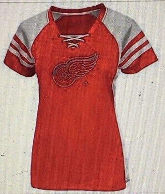 WunderschöNen Detroit Red Wings Damen Magic Moments Schimmer Zum Schnüren Oberteil T-shirt Von QualitäT Und QuantitäT Gesichert Weitere Ballsportarten