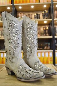 106c27b7836 Details about Corral Ladies White Glitter Inlay And Crystals Snip Toe  Wedding Boots A3322 SALE