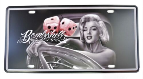 """PLAQUE TOLE VINTAGE PIN-UP /""""BOMBSHELL/"""" 15 X 30 cm Neuf Emballage d/'origine"""