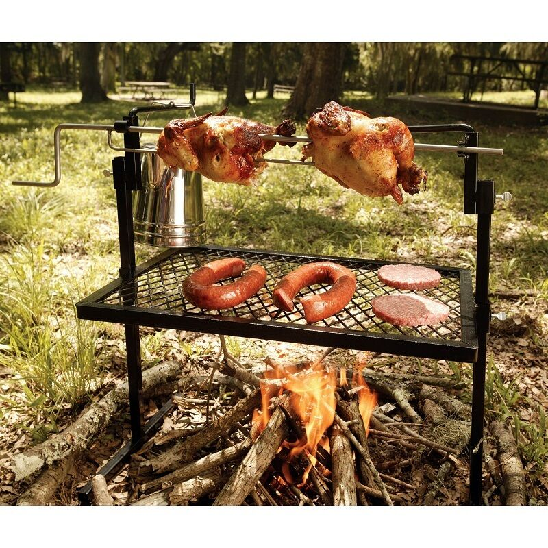 Grill  Bbq redisserie Spit Stainless Steel Camping Picnic Outdoor Open Fire Cook  the best after-sale service