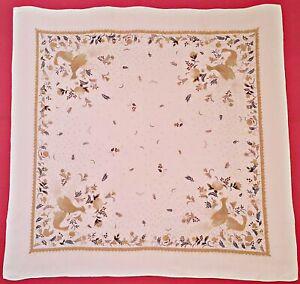 VINTAGE-ANIMAL-ART-BIRDS-FLOWERS-WHITE-BROWN-JACQUARD-SILK-34-034-SQUARE-SCARF