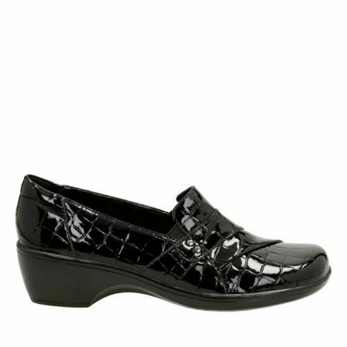 Clarks Women's May Marigold Black Croco Patent Synthetic Slip On shoes 26122617
