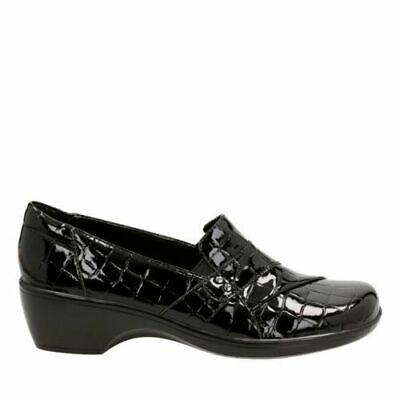 Clarks Donna Possono Marigold Nero Coccodrillo Verniciata Sintetico Clothing, Shoes & Accessories
