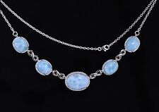LARIMAR NECKLACE 100% NATURAL One 18X13mm Four 12X10mm  925 STERLING SILVER