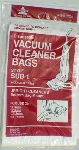 SUB-1 Upright Vacuum Cleaner Paper Bags 3pk Singer 32025