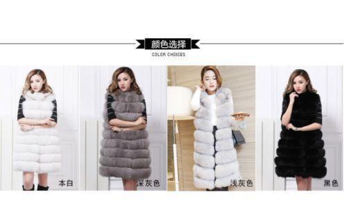 Women furry Fur Vest hooded warm Gilet Waistcoat Long Jacket Coat Parkas Thicken