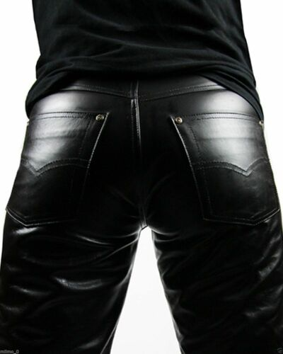 New Real Leather Mens Biker Pants Slim Fitting Swagger