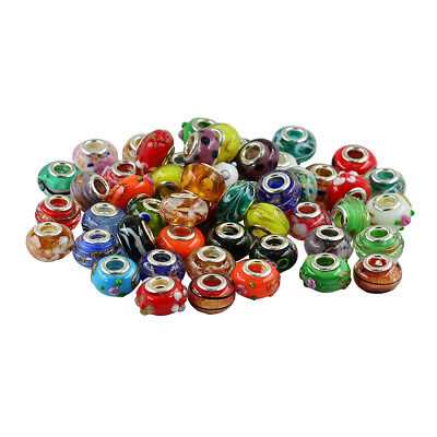 25x Rondelle Lampwork Glass European Large Hole Bead for Jewelry Making 14mm