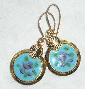 #1492H Vintage Earrings Guilloche Enamel Floral Gold Plated Flower Dangle Blue