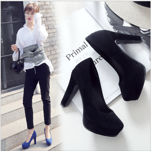 33-48 10.5cm Blockabsatz Elegant Pumps High Heels Party Damen Schuhe Crossdress